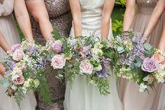 Vintage Lilac Rose Oversize Bouquets | Kate Halfpenny Iris Wedding Dress | Rachel Simpson Shoes | Lainston House Barn Venue | Mis-match Bridesmaid Dresses | McKenzie Brown Photography | http://www.rockmywedding.co.uk/sarah-nathan/