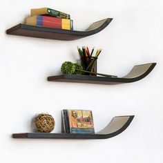 Trista - [Dark Brown] Stylish J Type Leather Wall Shelf / Bookshelf / Floating Shelf (Set of Floating Shelves Books, Modern Floating Shelves, Unique Shelves, Floating Shelves Bathroom, Wall Shelf Decor, Diy Wall Shelves, Wall Mounted Shelves, Wooden Shelves, Shelving
