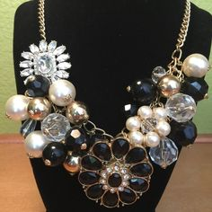 Gold rhinestone bobble necklace! Gold chain, gold, pearl and black bobbles, rhinestone flowers. A beautiful statement piece!in good used condition! Perfect for any wardrobe! Jewelry Necklaces