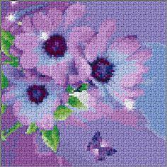 Cross Stitch   Purple Daisies xstitch Chart   Design
