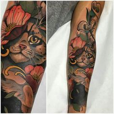 Cat sleeve. #tattooswomenssleeve