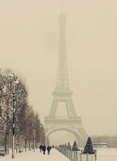 Snowy Eiffel Tower in Paris, France