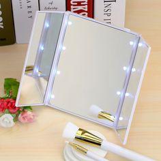 8 ledライト化粧化粧品卓上美しバニティミラー3折りたたみポータブルアジャスタブルカウンター光ミラー新しいデザイン