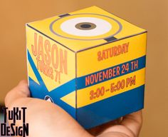 Minions Despicable me Birthday Party Invitation 3D Cube - Print, cut and Make at home! on Etsy, $6.00