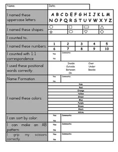 Assessment for preschoolers - alphabet, numbers, shapes, etc
