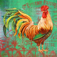 Le Rooster Heaven-a Painting  - Le Rooster Heaven-a Fine Art Print
