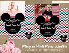Chevron Mickey / Minnie Mouse Photo Birthday Invitations - Matching Items Available - DIY Printable or Printed Invites with FREE SHIPPING