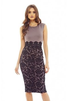 AX Paris Womens Black Lace Midi Bodycon Dress Glamorous Stylish Fashion