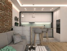 8 design streetlights to illuminate my interior - My Romodel Small Apartment Interior, Condo Interior, Kitchen Interior, Interior Design, Kitchen Room Design, Kitchen Decor, Small Open Plan Kitchens, Small Studio Apartments, Appartement Design