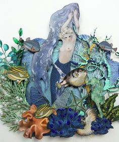 Artfully Musing: MERMAID GARDENS - 4 NEW Mermaid Themed Collage Sheets & A Giveaway