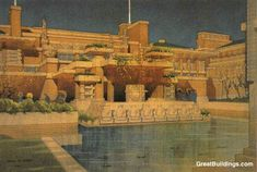 rendering of wright's imperial hotel.