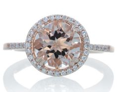 Rose Gold Round Morganite Engagement Ring Diamond Halo Solitaire Engagement Wedding Bridal Gemstone Ring SAMnSUE $880.00 USD