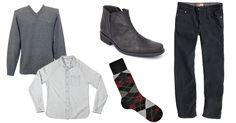 """Look casual para  outono/inverno, com meias na padronagem """"argyle"""" (losangos) combinadas com botinas"""