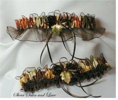 BROWN FALL AUTUMN wedding garters maple leaf by SheerSatinandLace
