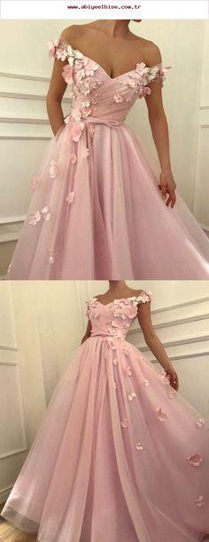 8f1a461a09b8 Hübsche rosa Tüll lange Ballkleider mit V-Ausschnitt aus der Schulter  Abendkleider mit .