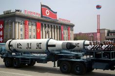 FILE - In this Saturday, April 15, 2017, file photo, a submarine-launched ballistic missile is displayed in Kim Il Sung Square during a military parade in Pyongyang, North Korea, to celebrate the 105th birth anniversary of Kim Il Sung, the country's late founder and grandfather of current ruler Kim Jong Un.