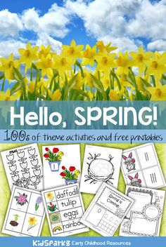 100s of activity printables and games to make for a SPRING theme to use when planning  curriculum lessons for  preschool, preK and Kindergarten children.