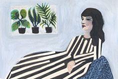 Waiting woman, with plants Katharina Zahl Striped Pants, Waiting, Woman, Illustration, Plants, Stripped Pants, Striped Shorts, Women, Illustrations