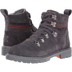 TOMS Summit Boot (Forged Iron Grey Suede/Tribal Textile) Women's Hiking Boots featuring polyvore, women's fashion, shoes, boots, ankle boots, brown, hiking boots, gray suede boots, short brown boots, waterproof ankle boots and suede boots