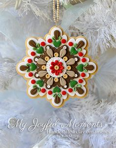 Handcrafted Polymer Clay Ornament van MyJoyfulMoments op Etsy, $15.00