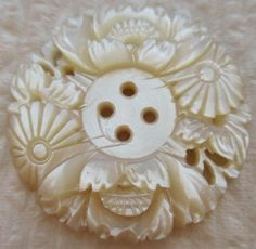 Remarkable Antique~ Vtg Bethlehem Carved MOP Shell BUTTON Pierced w/ Flowers
