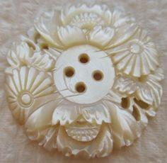 Remarkable Antique~ Vtg Bethlehem Carved MOP Shell BUTTON Pierced w/ Flowers