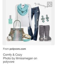White top/blouse; dark jeans; colorful SCARVES w/shoes & jewelry to match NO cardigan.