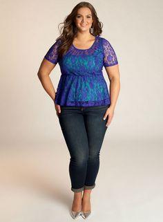Florence Peplum Top in Cobalt Blue.  IGIGI by Yuliya Raquel.  www.igigi.com #igigi #ALeBaronPlusModel
