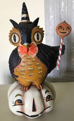 Johanna-Parker-for-Bethany-Lowe-Owl-amp-Pumpkin-Halloween Owl Pumpkin, Bethany Lowe, Vintage Halloween Decorations, Halloween Pumpkins, Christmas Ornaments, Amp, Holiday Decor, Disney Characters, Ebay