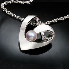 collar de perlas, piedra junio, colgante corazón plata, Argentium plata, collar de la boda, collar artesanal, corazón - 3401
