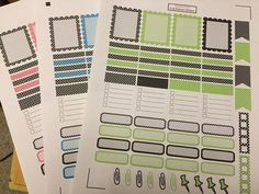 Choose from pink, blue OR lime green  ONE full sheet of stickers  4 scallop bozes 20 small rectangles 4 lined boxes 4 flags 2 check boxes 16 rounded corner boxes 6 paper clips 4 push pins  Stickers are ready to peel and stick in your planner kiss cut and printed on matte paper    Please choose carefully. All sales are final because they are printed just for you.