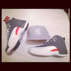 33a936d3aa4e81 Air Jordan 12 Retro (Cool Gray Team Orange) + Gray NY New Era