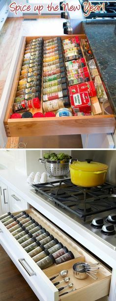 A custom spices drawer help you easy to inventory, and easy to reach them.