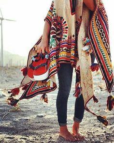 @Regrann from @lot__one__studio -  P O N C H O  L O V I N'  (source unknown)  #ponche #navaro #pattern #colourful #indie #indian #moroccan #jewelry #stacked #necklace #blonde #surferhair #saltyhair #fashion #inspiration #CopenhagenBased #hippie #gypsy #fashionista #girlboss #københavn #inspiration #Regrann