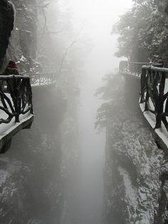 The cliff path that encircles Tianmen Mountain, China. Tianmen Mountain is located within Tianmen Mountain National Park, Zhangjiajie, in northwestern Hunan Province, China. (V)