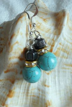 Sphere Turquoise Stacked Earrings, Round Turquoise and Faceted Black Hematite Drop Earrings, Dangle Earrings Fashion Jewelry by lanesamarie on Etsy