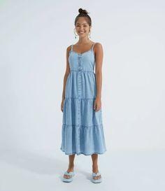 Vestido Midi Jeans com Alças Finas e Babados na Saia Azul All Jeans, Casual, Summer Dresses, Blue, Products, Fashion, Blue Skirts, Ruffles, Neckline