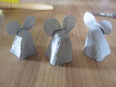 These little egg carton mice are having a lovely time, and when the kids have finished playing with them, t. Insect Eggs, Driftwood Crafts, Glue Sticks, Yellow Painting, Gel Pens, Pebble Art, Mice, Body Painting, Eggs
