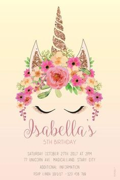 Digital printable file, personalised for your occasionYour order will be sent to you via email for your convenience. Unicorn Birthday Invitations, Baby Shower Invitations, Unicorn Birthday Parties, Girl Birthday, Baby Shower Ideas For Girls Themes, Unicorn Baby Shower, Shower Baby, Girl Shower, Bridal Shower