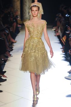 """Delicate gold lace dress at Elie Saab - """"if I had a million dollars..."""" and not with those shoes..."""
