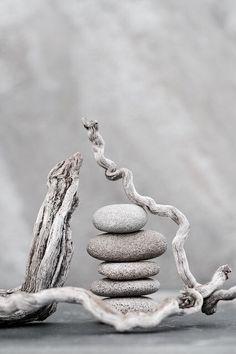 Zen sculpture made from beach treasures. <3 ~ETS #driftwood #beachrocks #sculpture #zen #driftwoodgirl