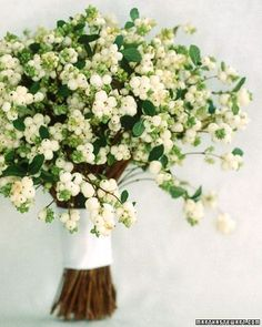 """Berry"" Bouquet A bundle of bridal-white snowberries is wrapped in a white satin ribbon with white-beaded trim pinned to the top and bottom edges.: Wedding Bouquets by Color -- Martha Stewart Weddings Winter Wedding Flowers, White Wedding Bouquets, Floral Bouquets, Bouquet Wedding, Berry Wedding, Small Bouquet, Winter Weddings, Simple Weddings, Fall Wedding"