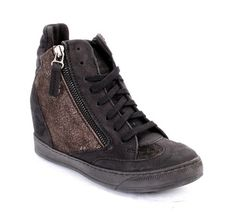 Black / Shiny Brown Leather Lace-Up / Side Zippers Hidden Wedge Ankle Boots / Sneakers 20% OFF- Code PINTEREST20