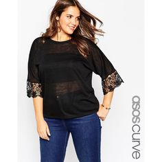 ASOS CURVE Tunic with Lace Sleeve in Linen Look Fabric ($22) ❤ liked on Polyvore featuring tops, tunics, black, plus size, plus size tunics, women plus size tops, relaxed fit tops, crop top and asos curve