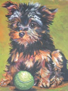 Yorkie Yorkshire Terrier hond kunst CANVAS print van LA Shepard schilderij 12 x 16 door TheDogLover op Etsy https://www.etsy.com/nl/listing/105377673/yorkie-yorkshire-terrier-hond-kunst