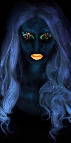 blacklight photography uv makeup                                                                                                                                                                                 More Body Painting, Neon Painting, Light Painting, Uv Photography, Uv Makeup, Circus Makeup, Neon Glow, Creative Portraits, Light Art