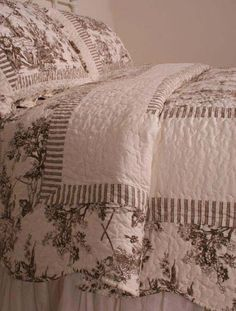 Stripes with toile French Country Brown Toile de Jouy Quilt Set