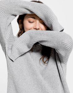 Pull&Bear - mujer - novedades - jersey fluido - gris vigo - 09558300-I2016