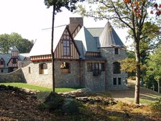 Side view of a European style home we built.