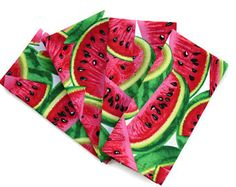 Watermelon Cloth Napkins, Set of 4 or 6, Watermelon Kitchen Decor, Watermelon Napkins, Summer Napkin Fruit, Matching Watermelon Table Linens